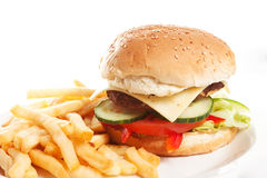 Hamburger with fries Stock Photos