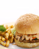 Hamburger and fries. A juicy burger served with french fries to satisfy your craving Stock Photography