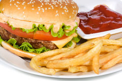 Hamburger with fries Stock Image