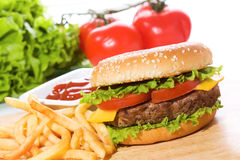 Hamburger with fries Royalty Free Stock Image