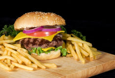 Hamburger & Fries Stock Photography