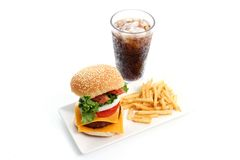 Hamburger and Fries Royalty Free Stock Images