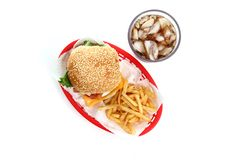 Hamburger and Fries Stock Photo