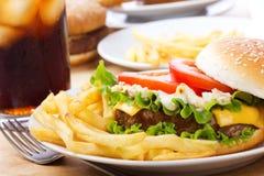 Hamburger with fries Stock Image