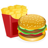 Hamburger And Fries. An illustration of the famous American fast-food combo of a burger and fries vector illustration