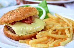 Hamburger with fries Royalty Free Stock Photography
