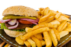 Hamburger and fries Royalty Free Stock Photography