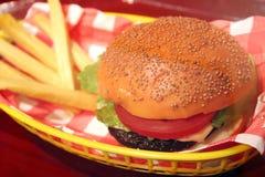 Hamburger and Fries Stock Images