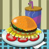 Hamburger with fries in a cafe Royalty Free Stock Photography