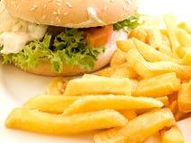 Hamburger and fries Royalty Free Stock Images