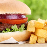 Hamburger with fries closeup close up Royalty Free Stock Photography