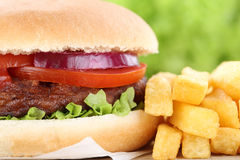 Hamburger with fries closeup close up tomatoes Royalty Free Stock Image