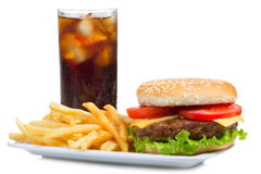 Hamburger with fries and cola Stock Photography