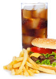 Hamburger with fries and cola Stock Photos