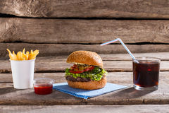 Hamburger with fries and cola. Stock Photography