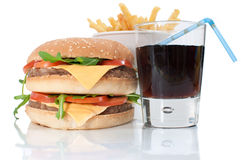 Hamburger, fries and cola drink Stock Photography