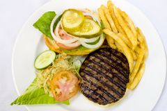 Hamburger with Fries and Coleslaw Stock Images