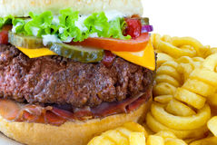 Hamburger with Fries Stock Photography