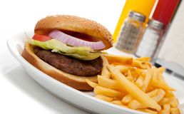 Hamburger and fries with a diner set-up Stock Photo