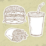 Hamburger, Fries and Drink Stock Image