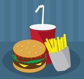 Hamburger Fries and Drink Royalty Free Stock Images