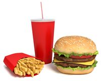 Hamburger, Fries and Drink Royalty Free Stock Photography