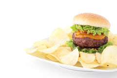 Hamburger and fries isolated Royalty Free Stock Photography