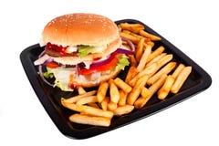 Hamburger with fries isolated on white background Royalty Free Stock Photo