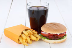 Hamburger and fries menu meal combo cola Stock Photo