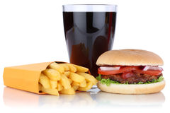 Hamburger and fries menu meal combo cola drink isolated Royalty Free Stock Photo