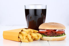 Hamburger and fries menu meal combo cola drink unhealthy eating Stock Photography