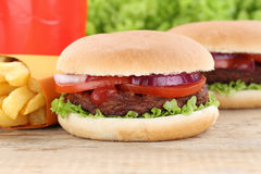 Hamburger and fries menu meal combo drink Stock Photography