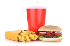 Hamburger and fries menu meal combo drink isolated Royalty Free Stock Photos