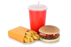 Hamburger and fries menu meal drink isolated Stock Photos
