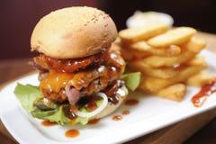 Hamburger with fries Royalty Free Stock Photo