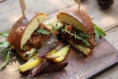Hamburger with fries and salad Stock Image