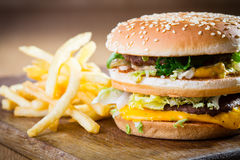 Hamburger and fries Stock Images