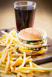 Hamburger and fries. Royalty Free Stock Image