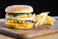 Hamburger and fries. Royalty Free Stock Photos