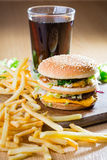 Hamburger and fries. Stock Image