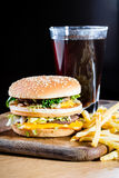 Hamburger and fries. Royalty Free Stock Photo