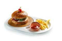 Hamburger, frieten en tomatensaus in een witte ovale plaat die op witte achtergrond wordt ge?soleerd stock afbeeldingen