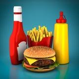 Hamburger, frieten, mosterd en ketchup Stock Afbeelding