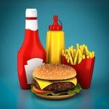 Hamburger, frieten, mosterd en ketchup Royalty-vrije Stock Fotografie