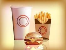 Hamburger, fritture, cola. Immagini Stock Libere da Diritti