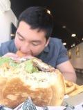 Hamburger a fuoco Fotografia Stock