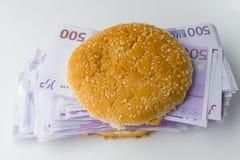 Hamburger gefüllt mit Eurogeld Stockfoto