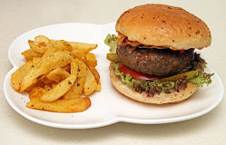 Hamburger gigante con i chip Fotografia Stock