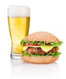 Hamburger and Glass of beer isolated on white background Royalty Free Stock Image