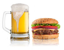 Hamburger and glass of beer isolated on white Stock Photo